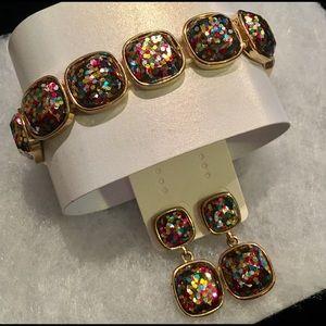 Confetti Glitter Clip On Earrings & Bracelet Set